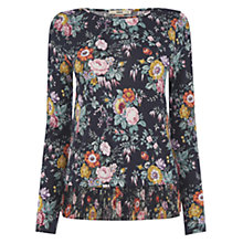 Buy Oasis Fi Fi Floral Pleated Hem Top, Navy Online at johnlewis.com