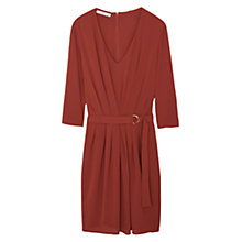 Buy Mango Pleat Panel Belted Dress, Copper Online at johnlewis.com