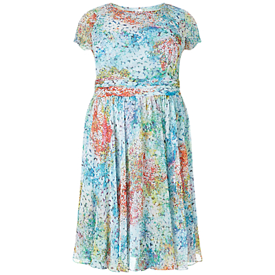 Adrianna Papell Plus Size Monet Floral Chiffon Cocktail Dress, Blue/Multi