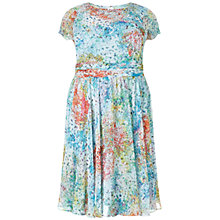 Buy Adrianna Papell Plus Size Monet Floral Chiffon Cocktail Dress, Blue/Multi Online at johnlewis.com