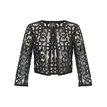 Buy Adrianna Papell Cut Out Faux Leather Cropped Jacket, Black Online at johnlewis.com