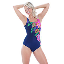 Buy Zoggs Tropical Garden Squareback Swimsuit, Navy Online at johnlewis.com