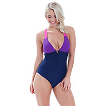 Buy Zoggs Tropical Garden Crossover Swimsuit, Navy Online at johnlewis.com