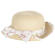 Buy John Lewis Baby Floral Cloche Straw Hat, Natural/Multi Online at johnlewis.com