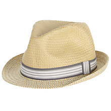Buy John Lewis Baby Straw Trilby Hat, Natural/Grey Online at johnlewis.com