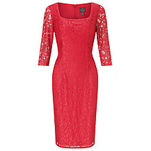 Buy Adrianna Papell Square Neck Lace Sheath Dress, Cayenne/Scarlet Online at johnlewis.com
