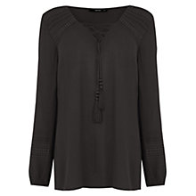 Buy Oasis Lace Front Peasant Blouse Online at johnlewis.com