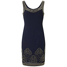Buy Adrianna Papell Beaded Trim Cocktail Dress, Navy Online at johnlewis.com