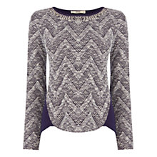 Buy Oasis Zig Zag Tweed Knit, Navy Online at johnlewis.com