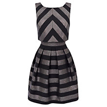 Buy Karen Millen Metallic Stripe Dress, Pewter Online at johnlewis.com