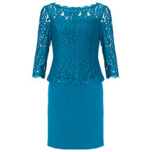 Buy Adrianna Papell Lace Overlay Bodice Crepe Dress, Peacock Online at johnlewis.com
