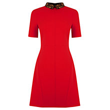 Buy Oasis Leopard Collar Shift Dress, Rich Red Online at johnlewis.com