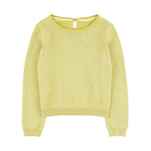 Buy Jigsaw Girls' Sparkle Cotton Mix Jumper, Lime Online at johnlewis.com