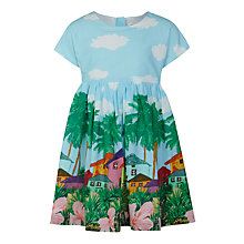 Buy John Lewis Girls' Tropical Border Print Dress, Blue Online at johnlewis.com