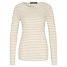 Buy Oui Striped Jersey Top, White/Camel Online at johnlewis.com