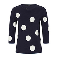 Buy Oui Large Spot Jumper, Dark Blue/White Online at johnlewis.com