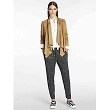 Buy Oui Drape Detail Suede Jacket, Tigers Eye Online at johnlewis.com