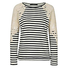 Buy Oui Stripe Lace Jumper, White/Blue Online at johnlewis.com