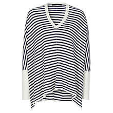 Buy Oui Stripe Draped Jumper, Blue/White Online at johnlewis.com