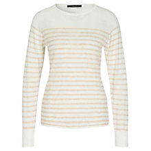 Buy Oui Stripe Jumper, White/Camel Online at johnlewis.com