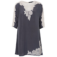 Buy French Connection Isla Lace Tunic Top, Mercury Mist Online at johnlewis.com