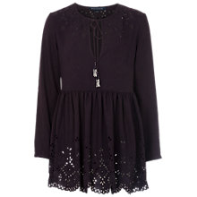 Buy French Connection Laser Lace Tunic Dress, Black Online at johnlewis.com