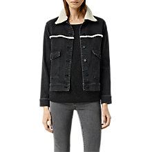 Buy AllSaints Zoe Denim Shearling Jacket, Black Online at johnlewis.com