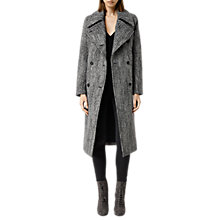 Buy AllSaints Aren Coat, Black/White Online at johnlewis.com