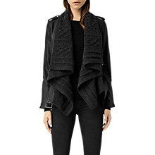 Buy AllSaints Wrap Cable Leather Biker Jacket, Black/Charcoal Online at johnlewis.com