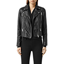 Buy AllSaints Worth Leather Biker Jacket, Black Online at johnlewis.com
