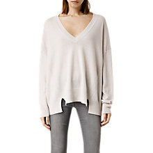 Buy AllSaints Atlas V Neck Jumper, Porcelain Online at johnlewis.com