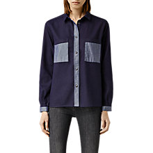Buy AllSaints Sam Inside Out Denim Shirt, Navy Online at johnlewis.com