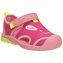 Buy Clarks Children's Beach Molly Rip-Tape Sandals, Pink Online at johnlewis.com