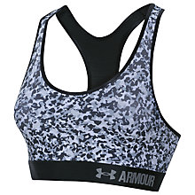 Buy Under Armour HeatGear Armour Printed Mid Sports Bra, White/Black Online at johnlewis.com