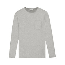 Buy Reiss Jay Long Sleeve Top, Light Grey Online at johnlewis.com