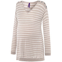 Buy Séraphine Skyla Maternity Nursing Stripe Jumper, Taupe/White Online at johnlewis.com