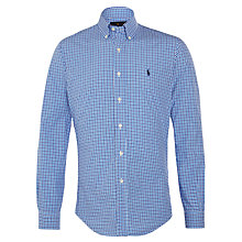 Buy Polo Ralph Lauren Slim Fit Checked Button Down Shirt, Powder Blue/Royal Online at johnlewis.com