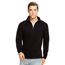 Buy Polo Ralph Lauren Zip Through Jersey Top, Polo Black Online at johnlewis.com