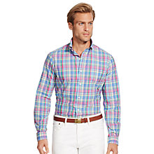 Buy Polo Ralph Lauren Long Sleeve Poplin Shirt, Magenta/Blue Online at johnlewis.com