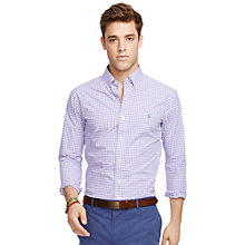 Buy Polo Ralph Lauren Button Down Check Shirt, Purple/White Online at johnlewis.com