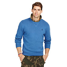 Buy Polo Ralph Lauren Crew Neck Sweatshirt, Shale Blue Heather Online at johnlewis.com