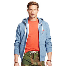 Buy Polo Ralph Lauren Fleece Full Zip Hoodie, Delta Blue Heather Online at johnlewis.com