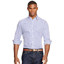 Buy Polo Ralph Lauren Embroidered Poplin Sport Shirt, Blue/White Online at johnlewis.com