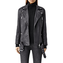 Buy AllSaints Laurel Leather Biker Jacket, Anthracite Grey Online at johnlewis.com