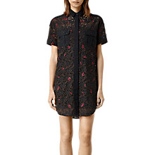 Buy AllSaints Leela Embroidered Shirt Dress, Black Online at johnlewis.com