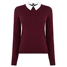 Buy Oasis Collar Jumper, Burgundy Online at johnlewis.com