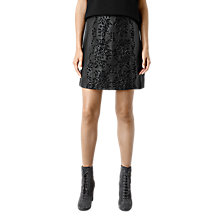 Buy AllSaints Philomena Embroidered Leather Skirt, Black Online at johnlewis.com