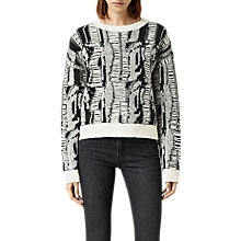 Buy AllSaints Cracked Crop Jumper, Black/Chalk Online at johnlewis.com