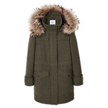 Buy Mango Hooded Coat With Faux Fur Trim, Medium Green Online at johnlewis.com