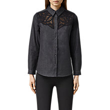 Buy AllSaints Moirety Shirt, Black Online at johnlewis.com